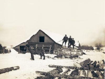 Three Men Drawing into the Sawmill Yard