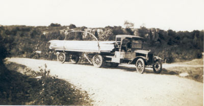 Early Fifth Wheel Used To Haul Lumber For Dahms' Saw Mill, Lount Township, circa 1920