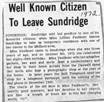 Well Known Citizen to Leave Sundridge, newspaper clipping, circa 1972