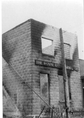 The Royal Bank after a Fire, circa 1920