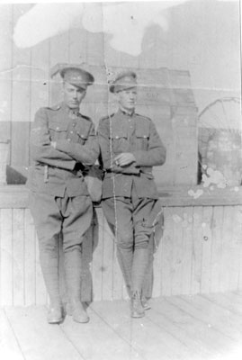 Two Soldiers at a Railroad Station, circa 1916