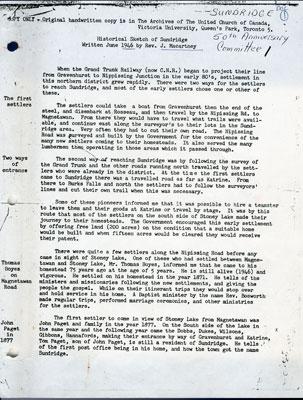 Historical Sketch of Sundridge by Rev. J. Macartney, June 1946