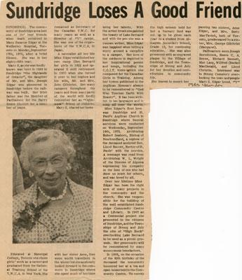 """Sundridge Loses A Good Friend"", Memorial, Newspaper Clipping"