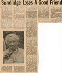 """Sundridge Loses A Good Friend"", Memorial, Newspaper Clipping"