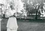 Mary S. Edgar in Yard, circa 1920