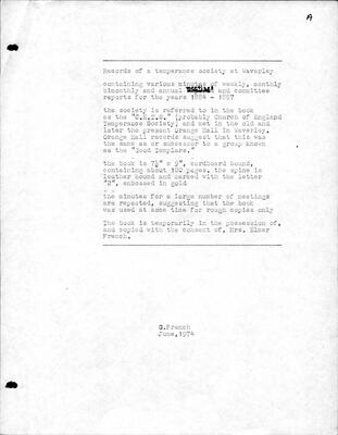 Records of a Temperance Society at Waverley