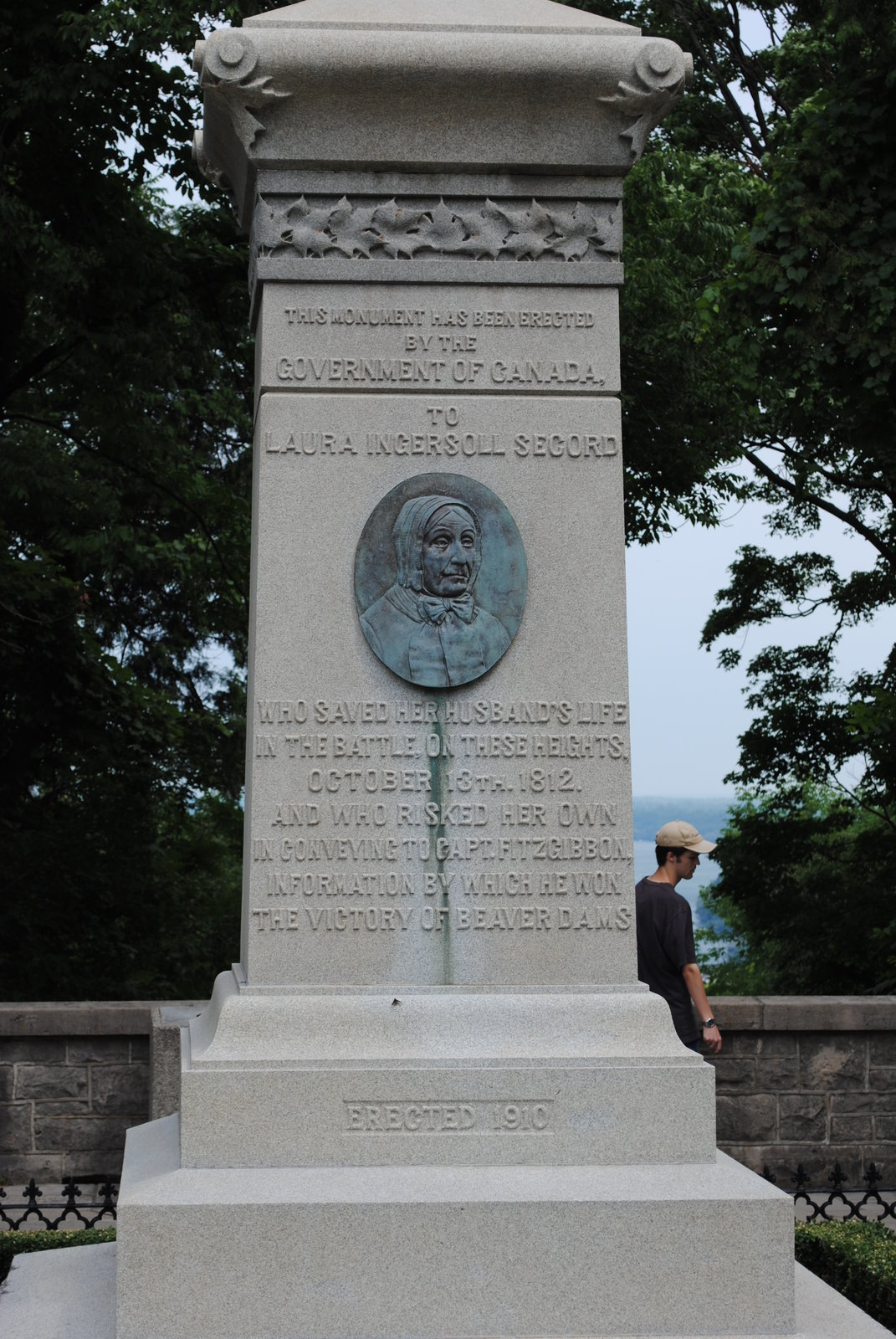 Photograph of Laura Secord's Monument, overlooking the lower Niagara River and the village of Queenston. <br>Courtesy the Six Nations Public Library.