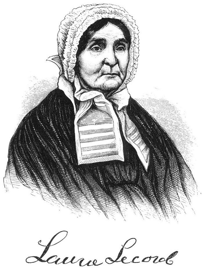 Black and white woodcut ink portrait of Laura Secord. Courtesy the Six Nations Public Library.