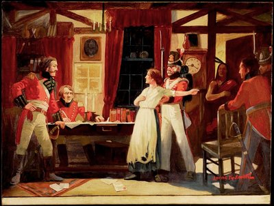 Meeting between Laura Secord and Lieutenant Fitzgibbon, June 1813