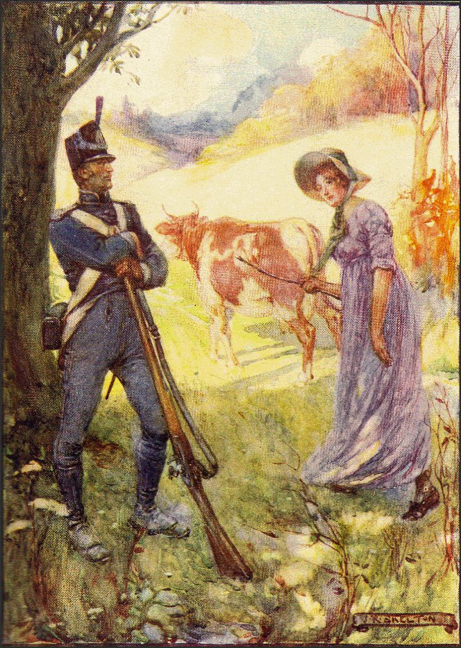 Painting by J.R. Skelton of Laura Secord pretending to lead a cow to get past soldiers, 1908. Courtesy the Six Nations Public Library.