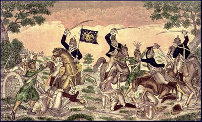 Col. Johnson's Mounted Men charging a party of British Artillerists and Indians at the Battle fought near Moraviantown October 2, 1813