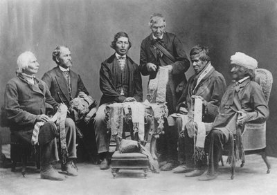 Chiefs of the Six Nations at Brantford, Canada, explaining their wampum belts to Horatio Hale September 14,1871.