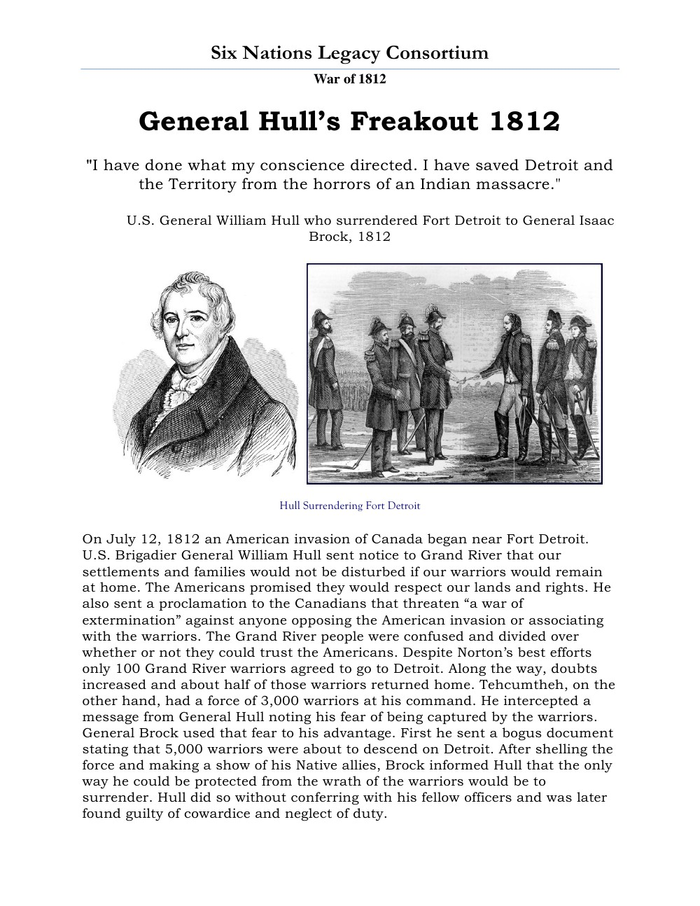 War of 1812 Series (13): General Hull's Freakout