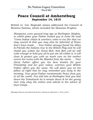 War of 1812 Series (23): Peace Council at Amherstburg