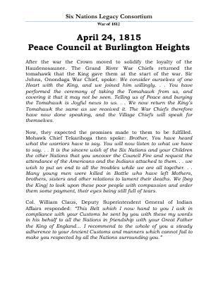 War of 1812 Series (38): Peace Council at Burlington Heights
