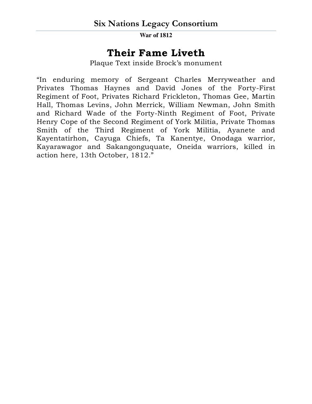 War of 1812 Series (47): Their Fame Liveth
