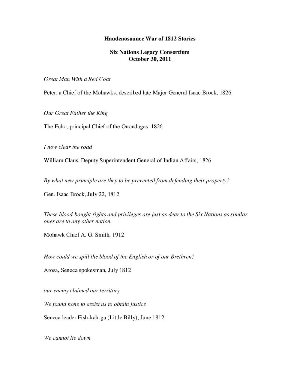 War of 1812 Series : 2012 Haudenosaunee War of 1812 Stories