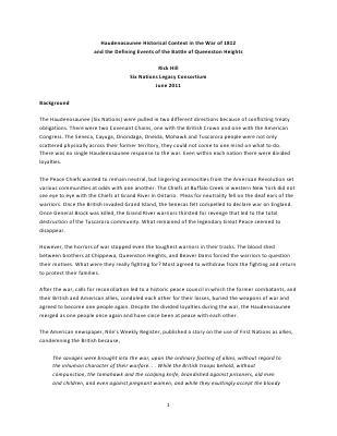 War of 1812 Series : Haudenosaunee Historical Context War of 1812 Queenstown Heights