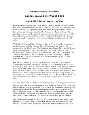 War of 1812 Series : Six Nations and the War of 1812 - the 1814 Withdrawal from the War
