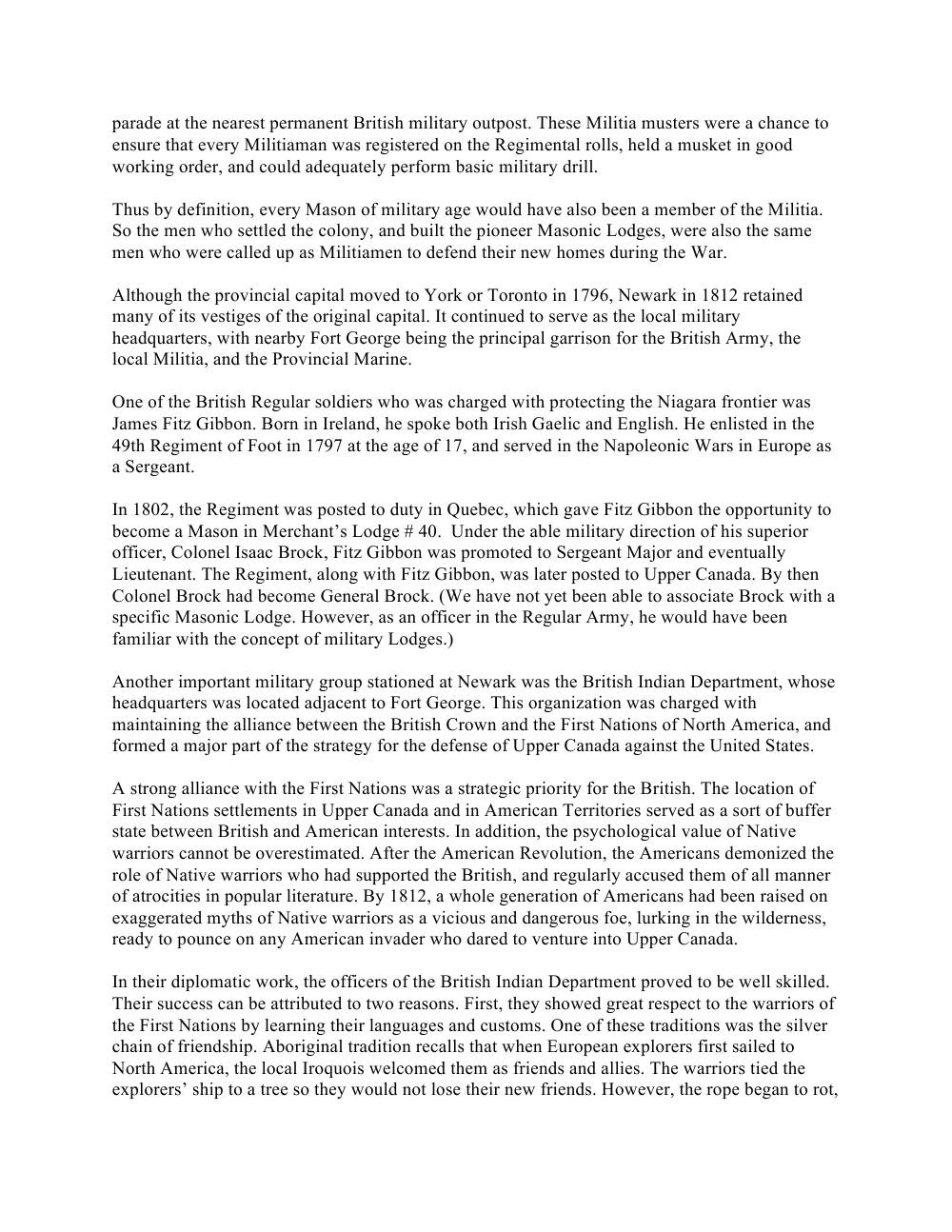 Freemasonry in Upper Canada in the War of 1812, speech by Daniel J. Glenney