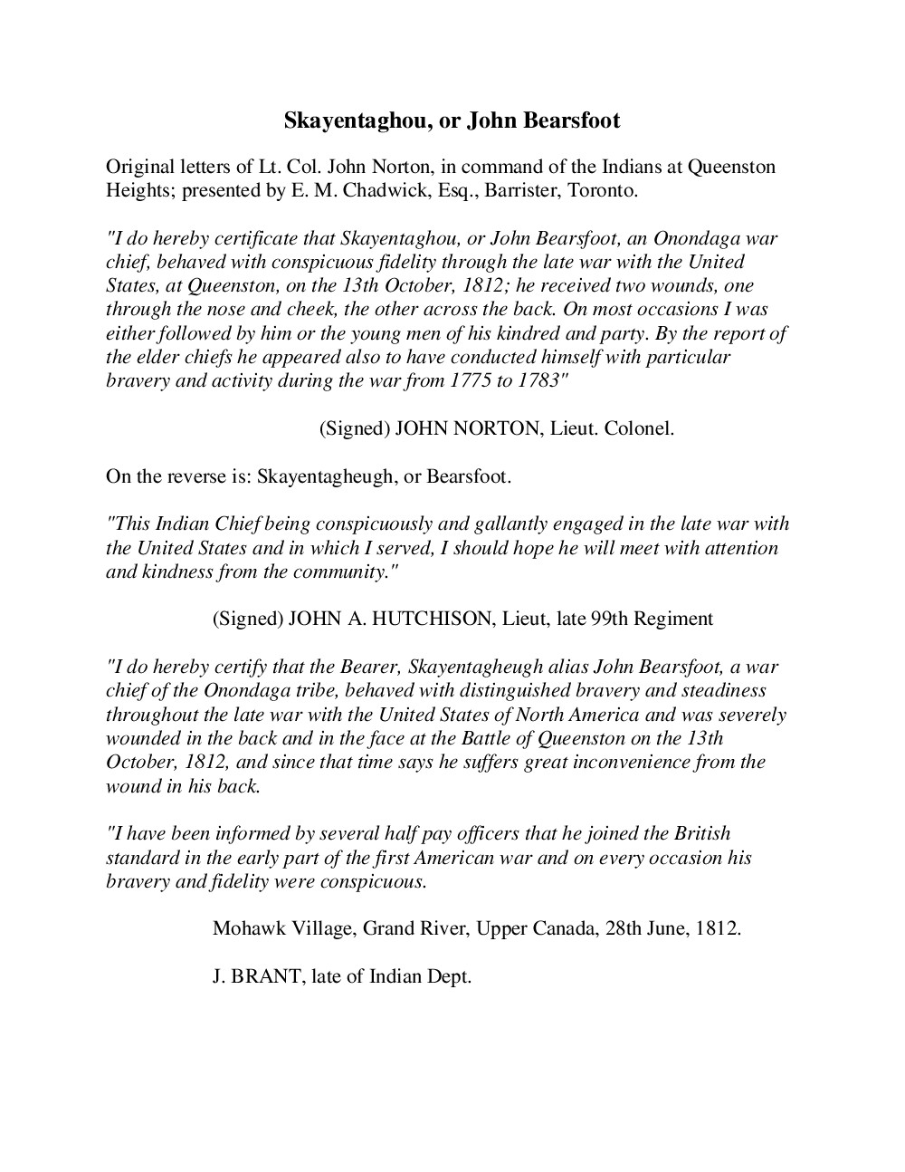 Skayentaghou (John Bearsfoot) - Letter of Conspicuous Fidelity issued by John Norton