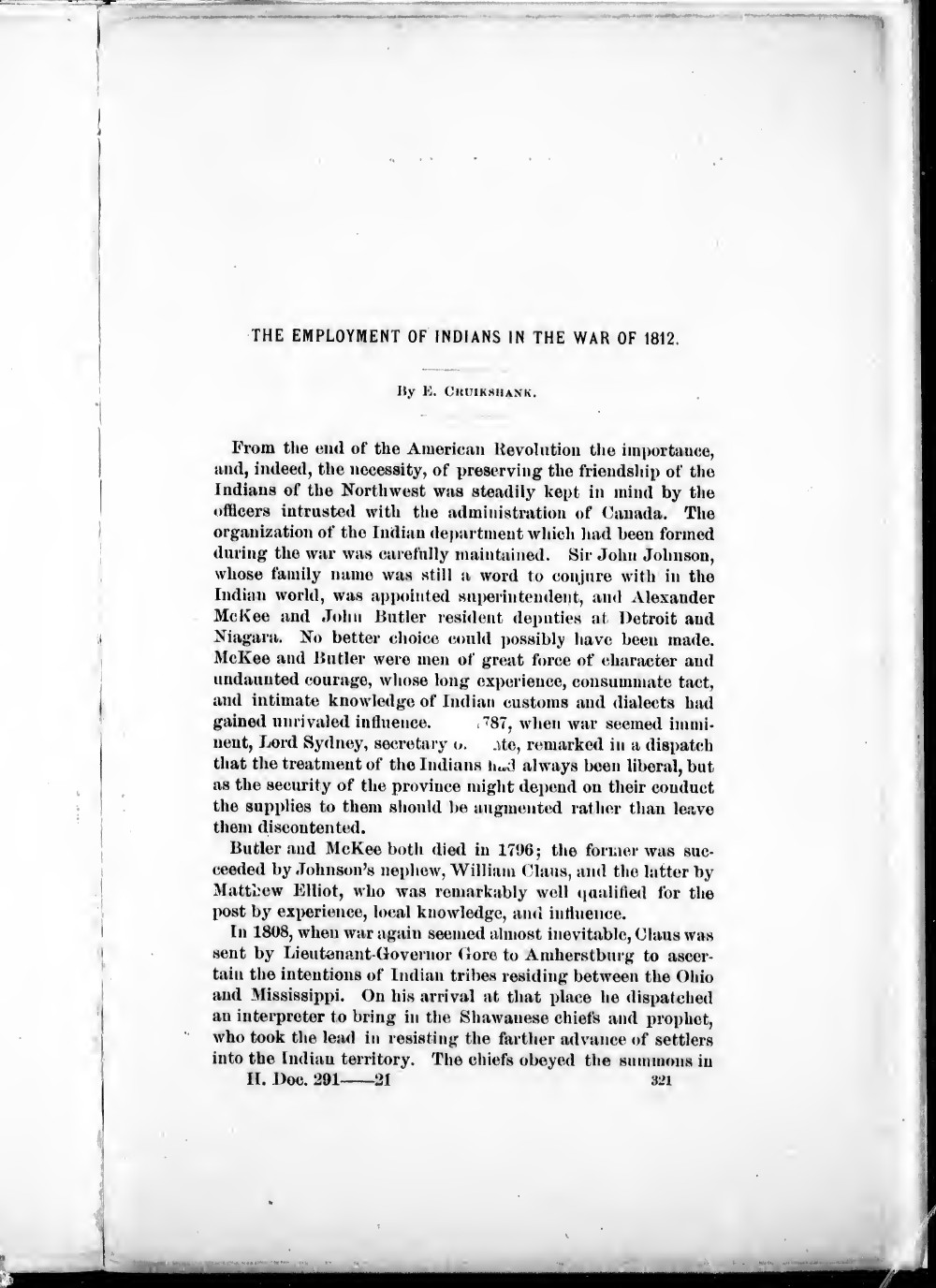 The Employment of Indians in the War of 1812,  the American Historical Association
