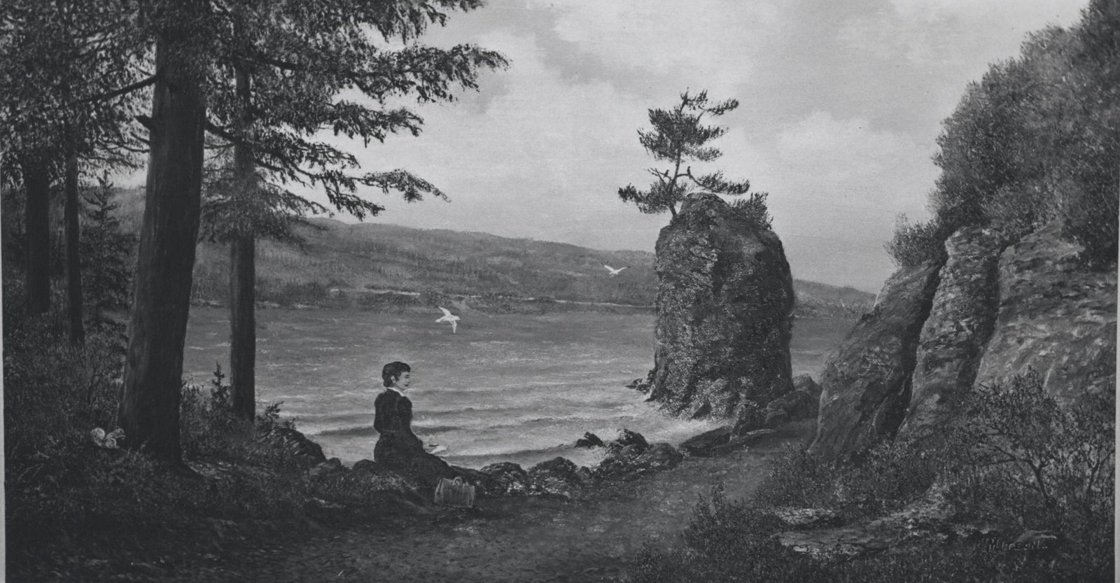 A David Mitson painting depicting Pauline Johnson at Siwash Rock Vancouver. Painted 1967 in Dundas, Ontario. Courtesy the Six Nations Public Library.
