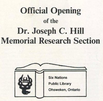 Official Opening of the Dr. Joseph C. Hill Memorial Research Section