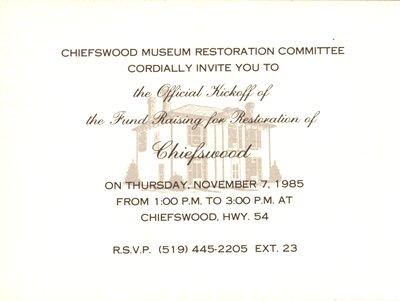 Chiefswood Museum Restoration Invitation