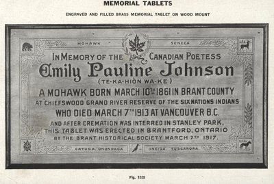Memorial Tablet for Emily Pauline Johnson, erected in 1917. Courtesy the Six Nations Public Library.