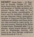 Henry, Kayla Dawn