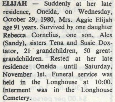 Elijah, Aggie