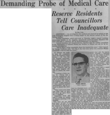 """""""Demanding Probe of Medical Care: Reserve Residents Tell Councillors Care Inadequate"""""""