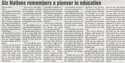 """""""Six Nations Remembers A Pioneer in Education"""""""