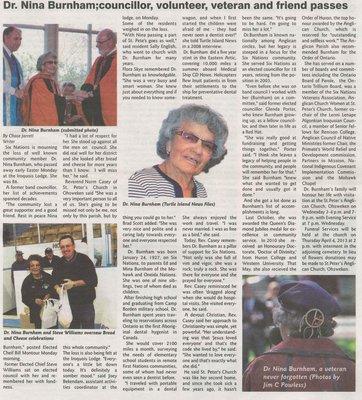 """Dr. Nina Burnham: Councillor, Volunteer, Veteran and Friend Passes"""