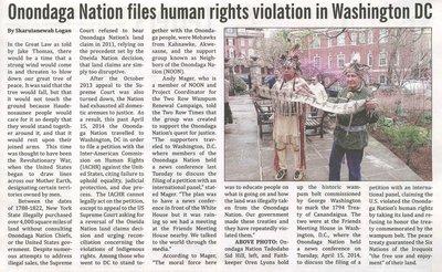 """Onondaga Nations Files Human Rights Violation in Washington DC"""