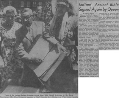 """Indians' Ancient Bible Signed Again by Queen"""
