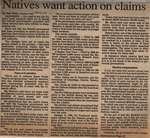 """""""Natives Want Action on Claims"""""""
