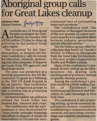 """""""Aboriginal group calls for Great Lakes cleanup"""""""