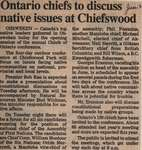 """Ontario Chiefs to Discuss Native Issues at Chiefswood"""