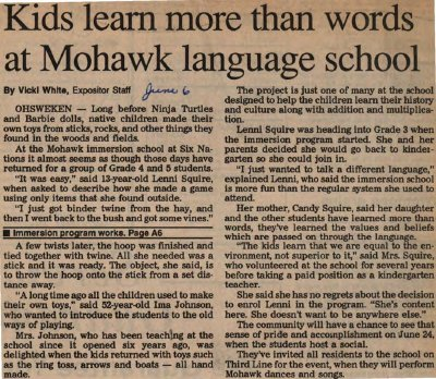 """Kids learn more than words at Mohawk language school"""