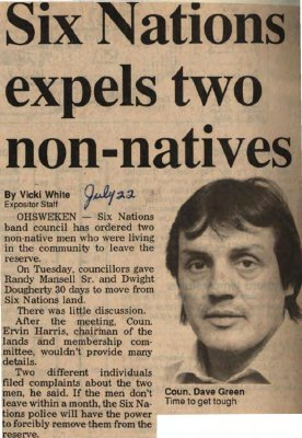 """Six Nations expels two non-natives"""