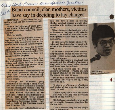 """New York reserve uses special justice - band council, clan mothers, victims have say in deciding to lay charges"""