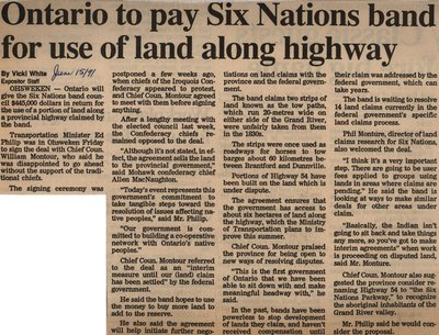 """Ontario to Pay Six Nations Band for Use of Land Along Highway"""