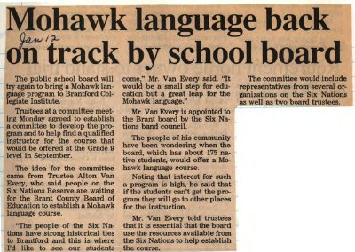 """Mohawk language back on track by school board"""