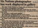 """Six Nations Photographer Has Work Displayed in Gallery"""