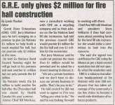 """""""G.R.E. only gives $2 million for fire hall construction"""""""