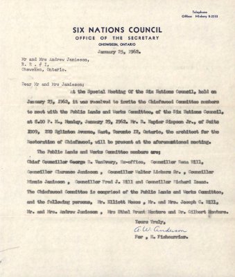 Letter from Six Nations Elected Band Council to Mr. and Mrs. Andrew Jamieson