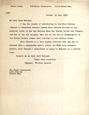 Letter from Wilfred Laurier to Lord Brassey regarding E. Pauline Johnson