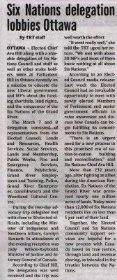 """""""Six Nations delegation lobbies Ottawa"""""""